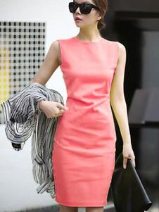 Vestito aderente da donna 2020 Abito da donna senza maniche in tinta unita