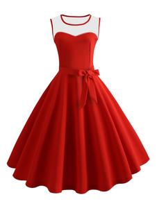 Vestido Vintage 2020 Sem Mangas Vestido De Verão Mulheres Vestido Retro Midi