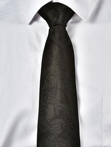 Cravatta casual nera da uomo cravatta jacquard paisley