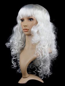 شعر مستعار هالوين الشعر الأبيض طويل مجعد كرنفال شعر مستعار المرأة الاصطناعية الباروكات