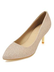 Kitten Heel Pumps Gold Pointed Toe Slip On Pumps Sequined Party Shoes для женщин