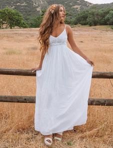 Vestiti Lunghi Bianco  Abiti Lunghi smanicato Cotone misto monocolore Vestiti Lunghi Eleganti scollato sulla schiena pizzo con scollo a V Abiti