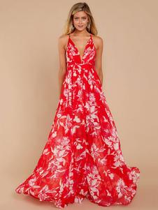 Vestido Maxi 2020 Floral Sem Mangas Mergulhar No Pescoço Sem Encosto Chiffon Vestido De Verão