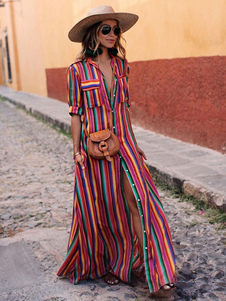 Радужная полоса рубашка платье кнопки вниз Maxi платье красочные половины рукава карманы на полу