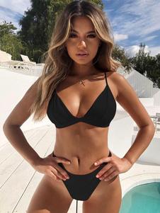 Bikini monocolore Costumi da Bagno Nero  Costumi vita alta bretelle Abbigliamento  Donna da spiaggia di poliestere 2-Pezzi