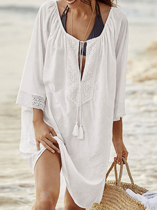 Las mujeres casuales cubren la ropa de playa del algodón del escote redondo del cordón