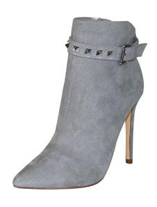Ankle Boots de camurça Botas de Salto Alto Mulheres Apontou Toe Rebites Fivela Botas Detalhe
