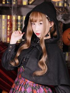 Abrigo Lolita clásico de lana plisada con capucha Poncho Lolita negro con capucha