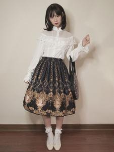 Camisa de Lolita clásica Blusa de encaje con volantes de algodón blanco Lolita