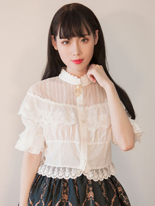 Классический Lolita Blouse Lace Trim Ruffle Illusion Chiffon White Lolita Crop Top