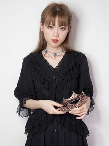 الكلاسيكية لوليتا قميص شيفون الرباط تريم الكشكشة بلوزة سوداء لوليتا