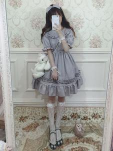 Dolce Lolita OP Abito in chiffon con pieghe arricciate e lolita grigio
