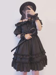 Doce Lolita OP Vestido Em Camadas Ruffle Chiffon Preto Lolita Vestido De Uma Peça