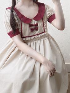 Sweet Lolita OP Vestido Bow Ruffle Apricot Lolita Vestido de una pieza
