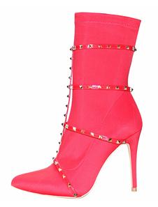 Botas de tornozelo vermelho Botas de salto alto apontou Toe Rivets Strappy Stretch Boots