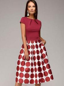 Vestido Vintage 2020 Vermelho De Bolinhas Manga Curta Plissada Midi Vestido