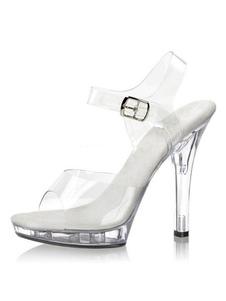 Женщины Сексуальные сандалии Прозрачный Peep Toe Пряжка Деталь Высокие каблуки Сандалии