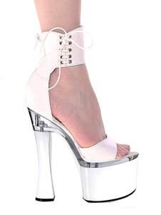 Plataforma de zapatos sexy blanco punta abierta con cordones correa de tobillo sandalias de tacón alto para mujeres
