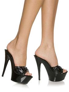 Черные сексуальные сандалии Платформа Peep Toe Lace Up Stiletto Heel Sandal Тапочки Женские туфли на высоком каблуке