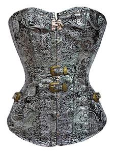 Disfraz Carnaval Disfraz de Steampunk Halloween Corset Silver Jacquard Strapless Cincher Top Entrenador de cintura para mujer Carnaval