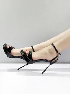 Sandálias de Salto Alto Sapatos Sexy Preto Dedo Do Pé Aberto Pedrinhas Strass Tornozelo Sandália Sapatos Para As Mulheres