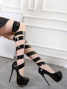 Черные сексуальные туфли на высоком каблуке Платформа Almond Lace Up Stiletto Heel Pumps