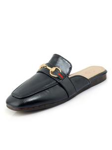 Negro Mule Zapatos para Mujer 2020 con Punta Cuadrada Detalle Metálico de Espalda al Aire Mule Loafers