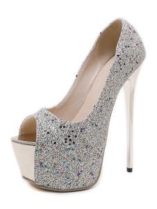 Argento sexy scarpe Glitter Platform Peep Toe Tacco a spillo Sexy pompe Tacco alto scarpe da festa per le donne