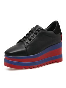Zapatos ocasionales negros Mujeres Square Toe Lace Up Platform Sneakers Oxford Shoes