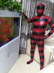 Costume Carnevale Halloween Zentai si adatta alla tuta intera metallizzata lucida rossa in lattice