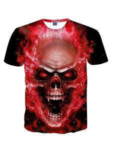 Red Men T Shirt Plus Размер Череп Печать Плюс Размер Хэллоуин с коротким рукавом Футболка Punk