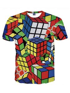 Homens vermelhos camiseta 3D impressão Magic Cube Plus Size manga curta camiseta