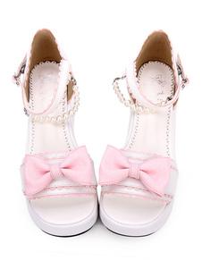 Sandalias Sweet Lolita Bow Pearl PU Rosa Lolita Flatform Shoes