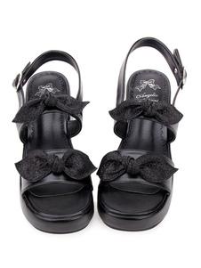 Lolita doce sandálias arco com tiras fivela PU preto Lolita sapatos