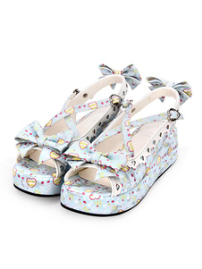 Sandalias Sweet Lolita Imprimir Sweetheart Hollow Out Zapatos azules de Lolia Bow