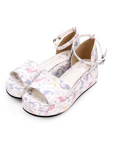 Sandalias Lolita Sweet Print Tobillo Correa PU Blanco Lolita Zapatos de plataforma