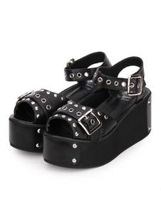 Sandalias de Lolita Punk Zapatos de Lolita con Tacón de Ojal en Remache Metálico con Tacón de Cuña