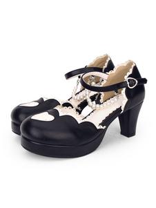 Sweet Lolita Pump Pearl Sweetheart Chunky High Heel Lolita Shoes