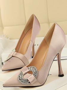 Scarpe da sera in raso Cameo Rosa con strass Slip On Party Shoes Donna Tacchi alti