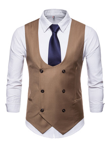 Homens Terno Colete 1950s U Neck Double Breasted Tuxedo Plus Size Cintura Casaco