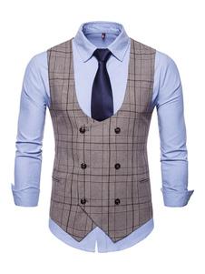 Мужской костюм жилет плюс размер 1950-х годов плед смокинг двубортный U шеи талии