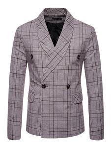 Пиджак для мужчин плюс размер 1950-х годов двубортный пиджак с отложным воротником плед случайный пиджак