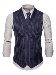 Мужской костюм жилет 1950-х годов двубортный платок лацкан с принтом плюс размер темно-синий жилет