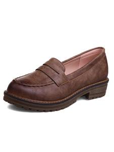 ローファー レディース PU ラウンドトゥ ブラウン  制服シューズ ポリウレタン/PU シック&モダン シューズ 太ヒール 3.5cm グラデーションカラー 滑り止めゴムソール ストリートウェア レディース靴