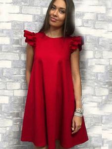 فستان أحمر تحول اللباس كم فستان المرأة تونك اللباس الخريف
