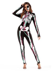 Скелет костюм Хэллоуин черный женщин с длинным рукавом тощий комбинезон
