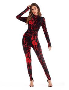 هالوين زي مخيف الدم مطبوعة طويلة الأكمام النساء حللا