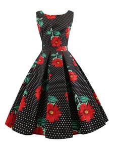 Черное Vintage платье 1950-х годов Цветочные Polka Dot без рукавов Женщины Midi платье