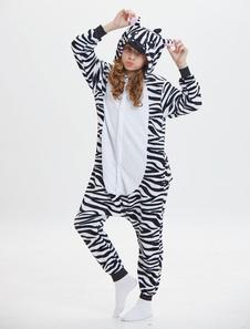 Disfraz Carnaval Zebra Kigurumi Onesie Pijamas Niños Blanco Franela Monos largos Unisex Animal Sleepwear Halloween Carnaval