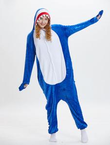 سمك القرش نيسيي Kigurumi بيجامة أزرق طويل الأكمام حللا للجنسين الكبار الحيوان النوم هالوين